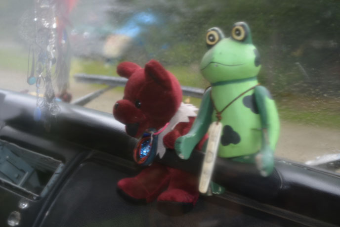 Trishs VW Bus Friends Bear and a Frog